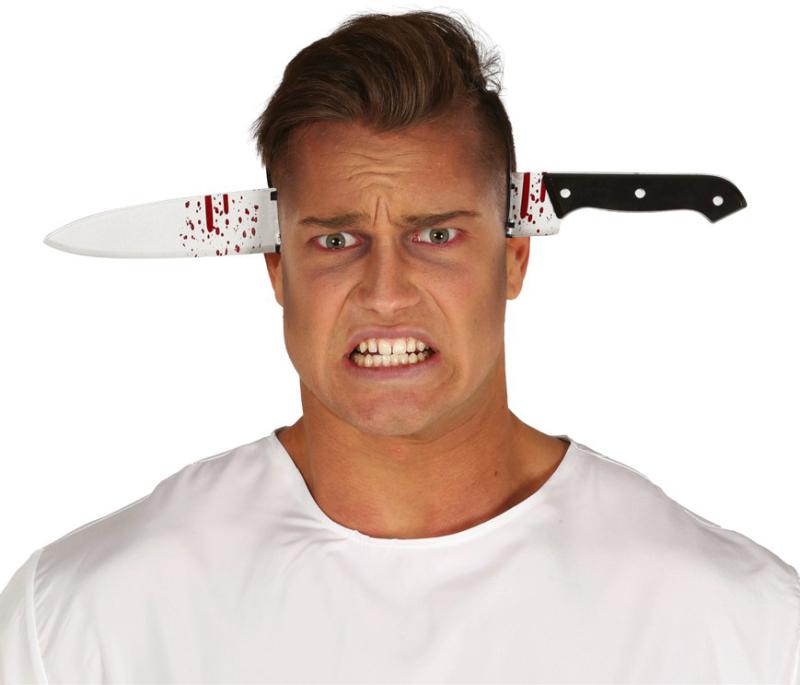 Blodig kniv på hårbøjle