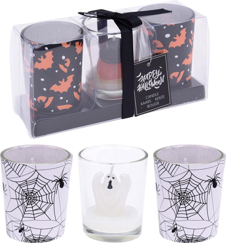 Halloweenlys i glas 3-pak