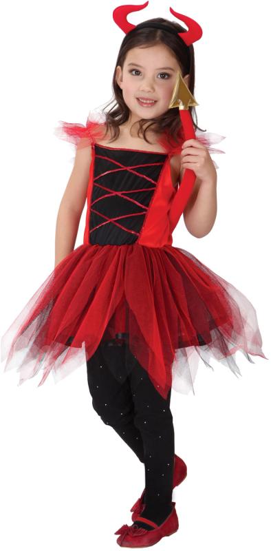 Djævle-pige kostume 130-140
